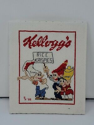 Completed Finished Cross Stitch Kellogs Rice Kristin's, Snap, Crackle, Pop 1988