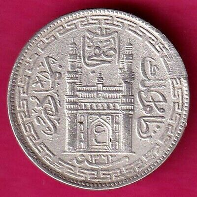 "Hyderabad State Ah 1362 ""Ain In Doorway"" Four Annas Rare Silver Coin #Dq20"