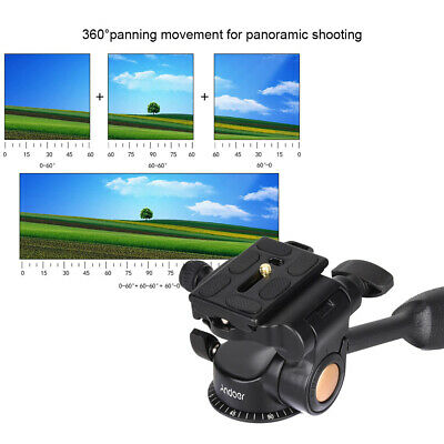 360° Panoramic 3-Way Fluid Ball Head w/ Quick Release Plate for DSLR Camera G5S0