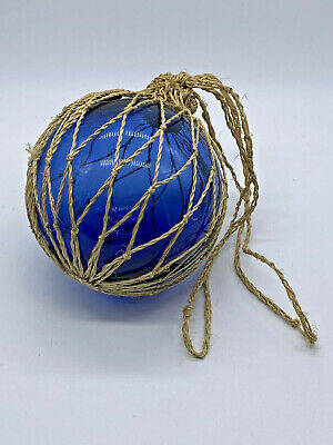 Beautiful Collectible Decorative Cornish Fishing Blue Glass Buoy in Netting