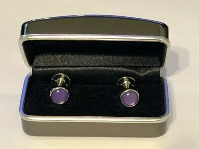 Cufflinks - dual ended, purple one side and white the other with silver link