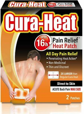 Cura-Heat Back Pain MAX size Direct-to-Skin 2 patches