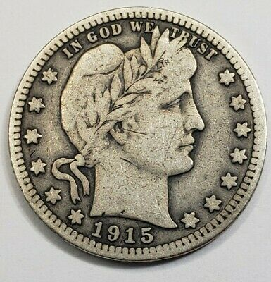 1915-D U.S. BARBER SILVER QUARTER ~ nice circulated condition