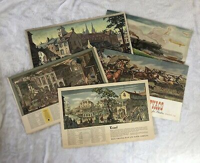 5 ANTIQUE POSTERS 1930-1940 WESTVACO WEST VIRGINIA PULP & PAPER CO Advertising