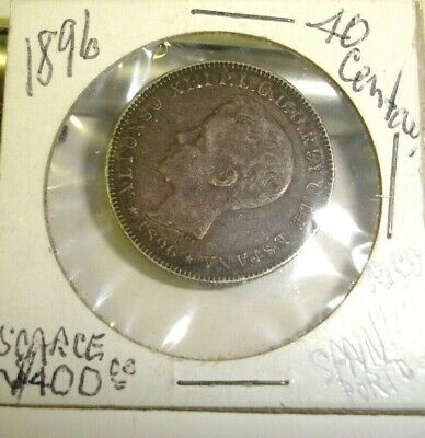 Puerto Rico Spain 1896 40 Cents Coin Alfonso