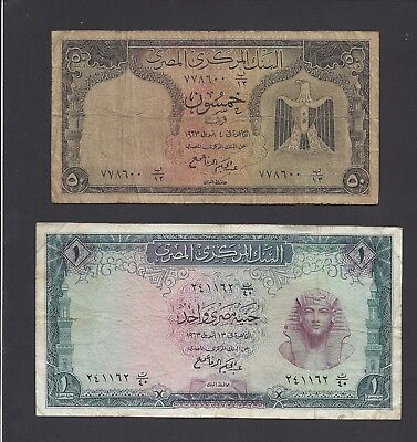 Egypt  -  Lot Of 2 Notes   1963     @    @