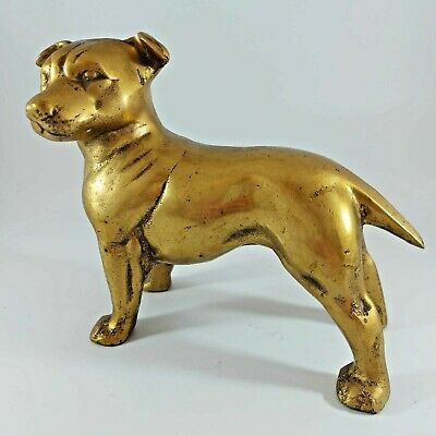Vintage Brass Pit Bull Terrier Dog sculpture ornament figurine - Rare dog heavy