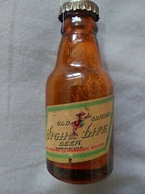 VINTAGE BROWN  Miller High Life MINI  Beer Bottle