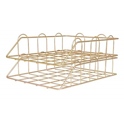 Eyourlife Wire Metal Stackable Paper Tray, Office Supplies Desk Organizer File