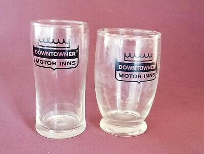 DOWNTOWNER MOTOR INNS Motel Hotel Room Restaurant Beverage Glasses Set of 2