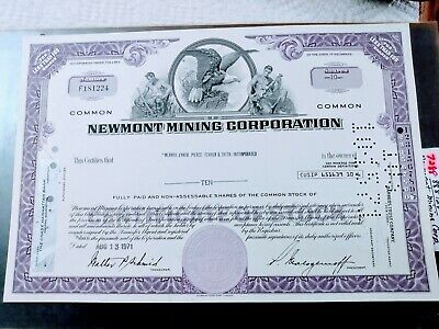 Vintage Newmont Mining Shares Certificate Of Stocks