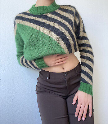 Vintage 90s FREE VALLEY Color Block Striped Womens Sweater Sz S