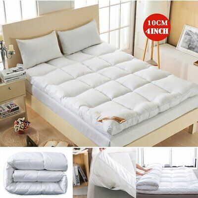 """4/"""" Inch Deep Luxury Soft Hotel Quality Microfiber Mattress Toppers UK Bed Size"""