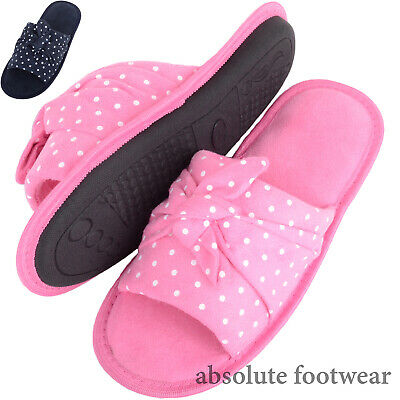 Slumberzzz Ladies Velour Mule Slippers with Matching Bow