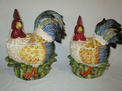 """EARTHENWARE /""""Rooster/"""" COOKIE JAR W// SOUND 1990/'S Never Used New In Box"""