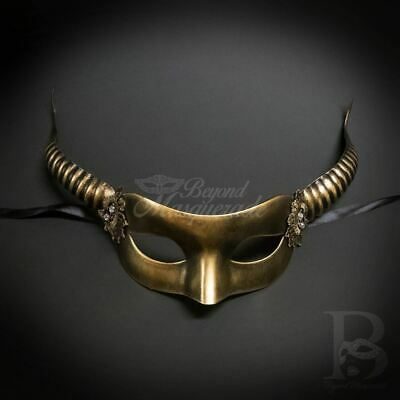Horn fairy mask masquerade ball gold m4774 halloween costume face cosplay adult
