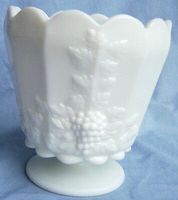 "WESTMORELAND PANELED GRAPE MILK GLASS 5"" TALL FOOTED JARDINERE or FLOWER POT!"