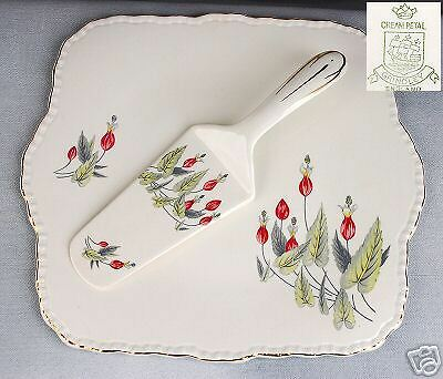 GRINDLEY BONE CHINA CAKE/DESSERT PLATE WITH SERVER