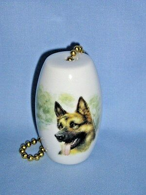 German Shepherd Dog Fan & Light Pull Porcelain Fired Decal 2 in long 6 In chainL