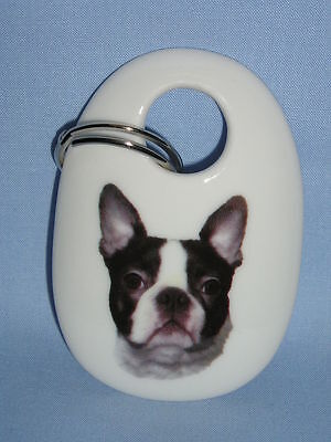 Boston Terrier Dog Key Chain Porcelain Fired Head Decal