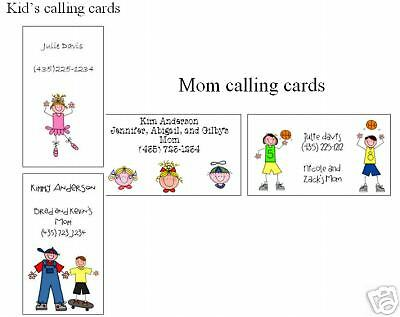 Mom and/or Kids Calling Cards Stick Figure/faces 10