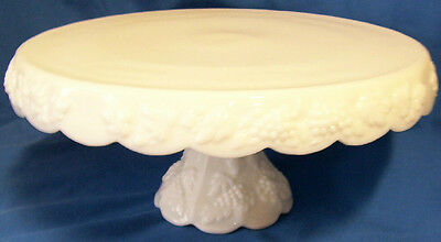 "WESTMORELAND PANELED GRAPE MILK GLASS 11"" DIAMETER FOOTED CAKESTAND w/SKIRT!"