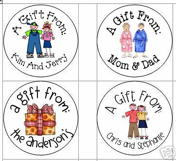 Stick figure/face Round Gift TagsCute Personalized