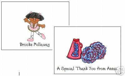 Dance Cheerleader  Ballet  Note Cards Personalized Cute