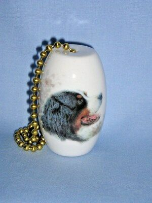 Bernese Mountain Dog Fan & Light Pull Porcelain Fired Head Decal 6 In Chain-L