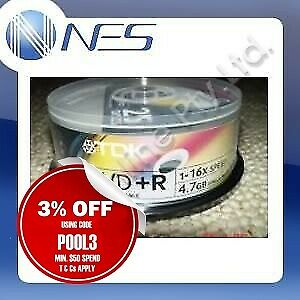 TDK 16x DVD+R WHITE PRINTABLE 25 Discs Spindle NEW Black Disc