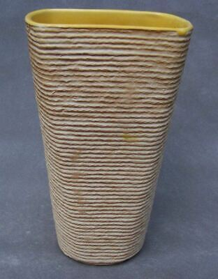 Shawnee Marked USA Pottery Vase Burlap Yellow 879 Super