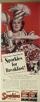 1942 WWII Sparkies Wheat/Rice Quaker Oats Cereal Art AD