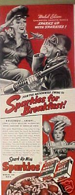 1942 WWII Mabel Edison Cannon Maker Sparkies Cereal AD