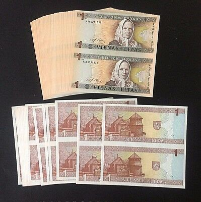Wholesale 100 Uncut Sheet Pairs (200 Notes) Lithuania Pick#53 Crisp Uncirculated