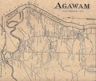 Agawam Feeding Hills Suffield Corner MA 1870 Map with Homeowners Names Shown