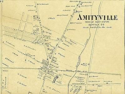 Amityville NY 1873 Map with Homeowners Names Shown