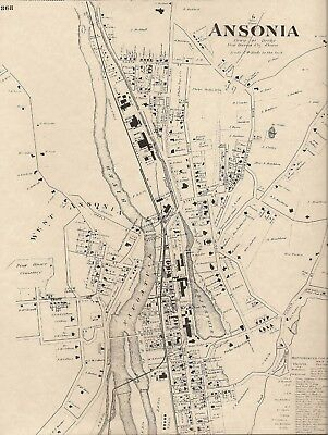 Ansonia CT 1868  Map with Businesses and Homeowners Names Shown