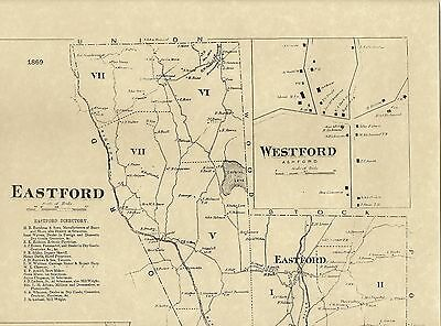 Ashford  Eastford Westford 1869 CT Maps with Homeowners Names Shown
