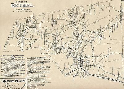 Bethel Grassy Plain CT 1867  Map with Homeowners Names Shown