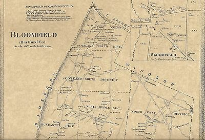 Bloomfield CT 1869  Map with Homeowners Names Shown