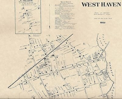 West Haven Orange Allingtown CT 1868 Maps with Homeowners Names Shown
