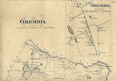 Columbia Ten Mile River Columbia Lake CT 1869  Map with Homeowners Names Shown