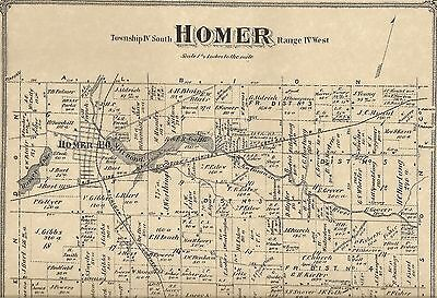 Homer MI 1873 Map with Homeowners Names Shown