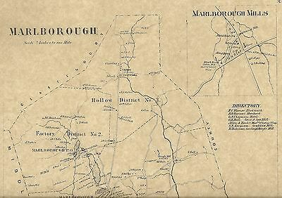 Marlborough Terramuggas Blackledge River CT 1869 Map with Homeowners Names Shown
