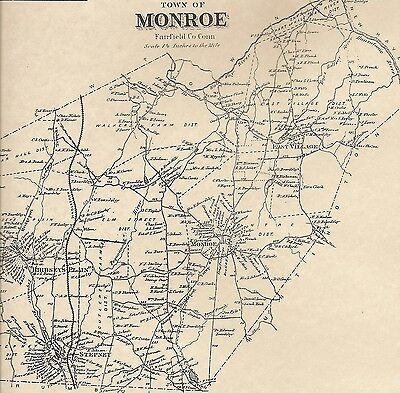 Monroe Stepney East Village CT 1867  Map with Homeowners Names Shown