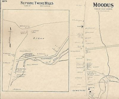 Moodus East Haddam CT 1874 Maps with Homeowners Names Shown