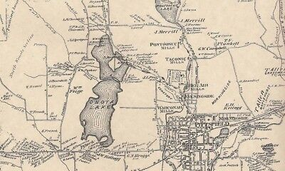 Pittsfield Barkerville Stearnsville MA 1876 Map with Homeowners Names Shown