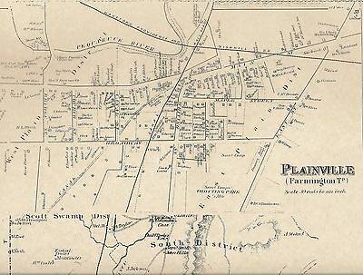 Plainville CT 1869 Map with Businesses and Homeowners Names Shown