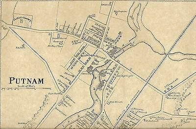 Putnam Quinebaug River East Putnam CT 1869 Maps with Homeowners Names Shown