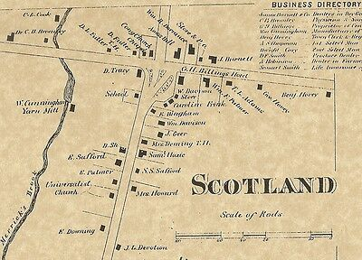 Scotland CT 1869 Map with Homeowners Names Shown